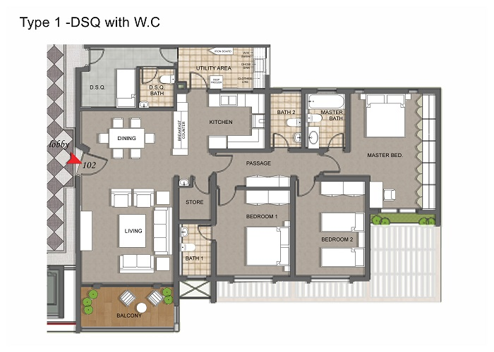 Apartment Type 1 With DSQ+WC