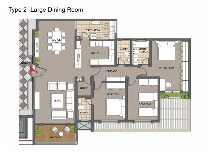 Apartment Type 2 With Extended Dining Room