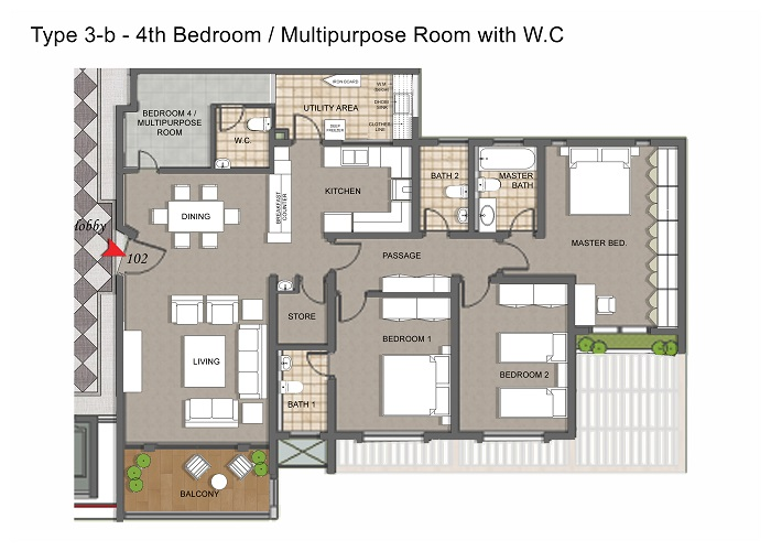 Apartment Type 3b With Multipurpose Room & WC.